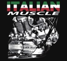 Italian muscle motorcycle T-shirt by Steve Crompton