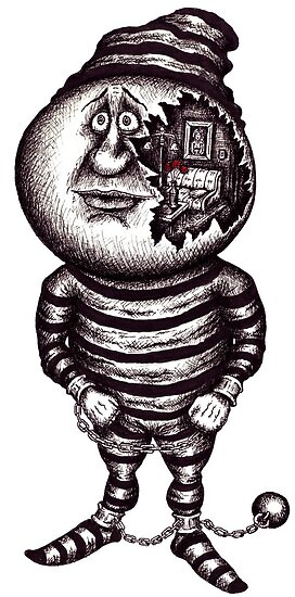 Prisoner of the material. Surreal black and white pen ink drawing by Vitaliy Gonikman
