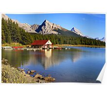 Historic Boathouse at Maligne Lake, Jasper NP Poster
