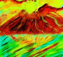 Volcano mountain at sunset #2 watercolor by Anna  Lewis