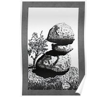 Boulders with Live Oak Tree Poster