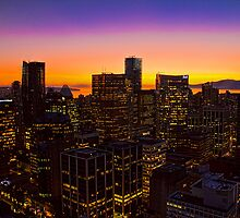 Canada. Vancouver, BC. Sunset in the Downtown. by vadim19