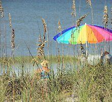 Colorful Beach Umbrella by Rosalie Scanlon