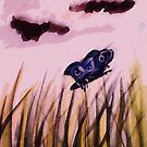 cloudy day for a butterfly , watercolor by Anna  Lewis