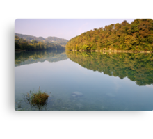 Autumn morning along the Rhone river Canvas Print