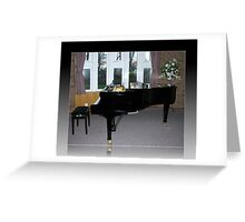 As Shadows Fall - Grand Piano In Reflection Frame Greeting Card