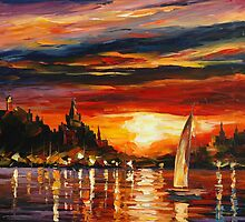 CASTLE BY THE SEA - LEONID AFREMOV by Leonid  Afremov