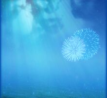 Blue Moon and Fireworks at Sea by Scott Mitchell