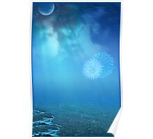 Blue Moon and Fireworks at Sea Poster