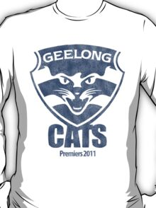Geelong Cats, AFL Premiers 2011 (Washed Worn Look) T-Shirt