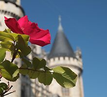 Red Rose and Chateau by Pamela Jayne Smith