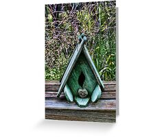 Bird House With Grass Background Greeting Card