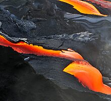 RIver of molten lava, close-up, Kilauea Volcano, Hawaii Islands, United States by Sami Sarkis