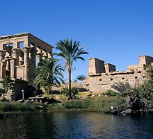 Egypt, Philae Temple, Roman Kiosk of Trajan, view across Nile river by Sami Sarkis