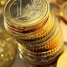 Stack Of Euros Coins by Sami Sarkis