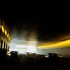 Paris Periphique, illuminated tunnel (blurred motion) by Sami Sarkis