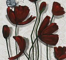 Red Poppies with a Butterfly by Cherie Roe Dirksen
