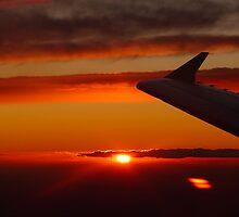 Sunset from the plane by Cara Gallardo Weil
