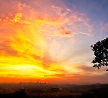 Red Clouds Over Kuala Lumpur Skyline, Malaysia by AbZahri AbAzizis