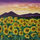 Sunflowerfield at dawn by olivia-art