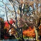 House With Picket Fence in Autumn by Susan Savad