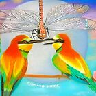 Coming Home- Bee Eaters and Dragonfly during Full Moon by Tracy Robbins