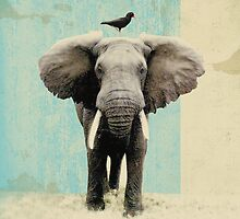 Creamy Pastel Design Inspiration: Friends For Life - Elephant and a Blackbird