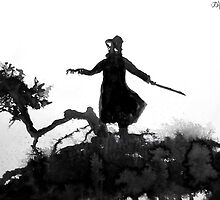 figure on gnarly hill by Loui  Jover