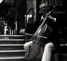 a very focused musician (unlike my phone camera). by geof