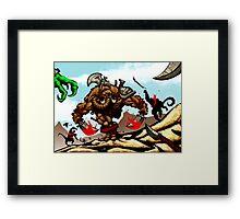 Charge of the Manstodon! Framed Print