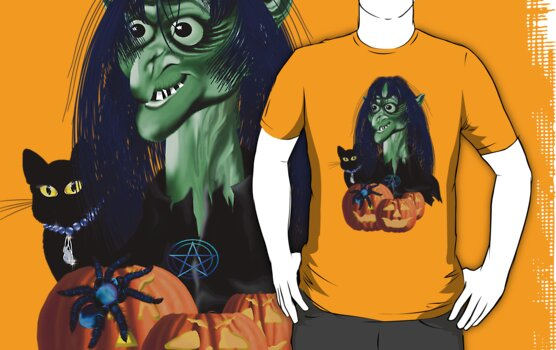 Green Witch, Black Cat, Blue Spider and Orange Pumpkins by Lotacats