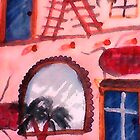 2 story Spanish style Old house, watercolor by Anna  Lewis