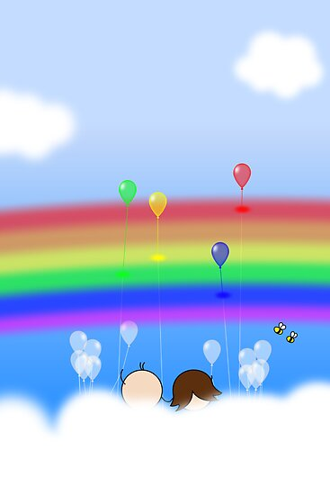 Rainbow Balloons - two lof bees by Josh Bush