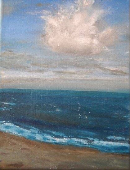 Beach - realist oil on canvas, seascape by Nicla Rossini
