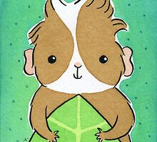 Guinea-pig with Green Leaf by zoel