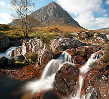 Mountain waterfall, Glencoe by Photo Scotland