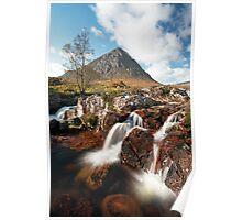 Mountain waterfall, Glencoe Poster