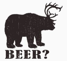 Bear + Deer = Beer? Funny T-shirt. (Dark brown) by avdesigns