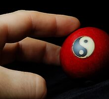 Hand on meditation ball with Yin Yang symbol by Sami Sarkis