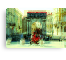 The Essence of Croatia - Red Motorbike in Pula Canvas Print