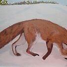 Red Fox, nosing a Push-up, Painting by MaeBelle