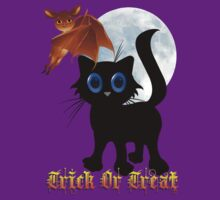 Trick or Treat Black Kitty and Bat by Lotacats