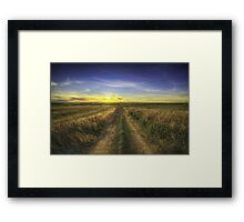Sunset Over Country Road HDR Framed Print