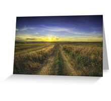 Sunset Over Country Road HDR Greeting Card
