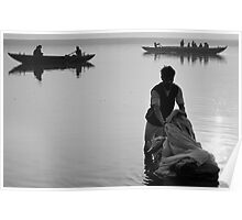 Washing in the Ganges river Poster