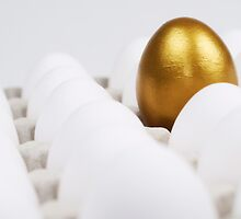 One golden egg in box of white eggs by Sami Sarkis