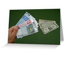 Man holding Euro banknotes Greeting Card