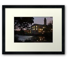 salts mill by night near the river aire west yorkshire Framed Print