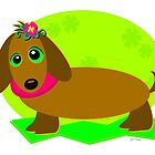 Dachshund Dog with a Flower by TheBluePlanet