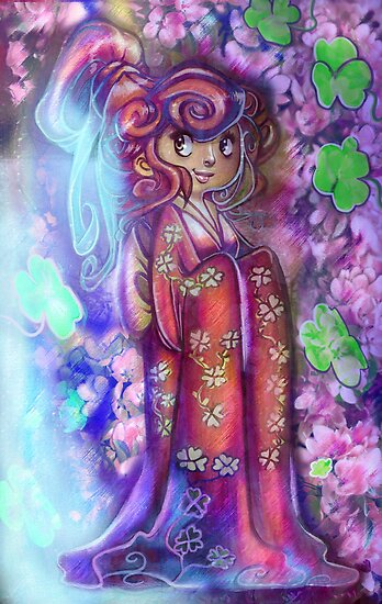 Clovers and Cherry Blossoms Geisha by SaradaBoru